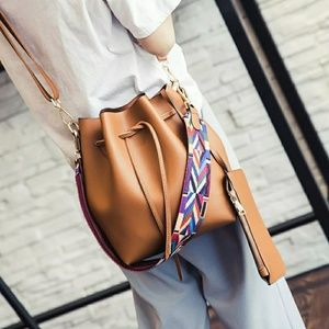 SALE $40-Tan Drawstring Bucket Handbag